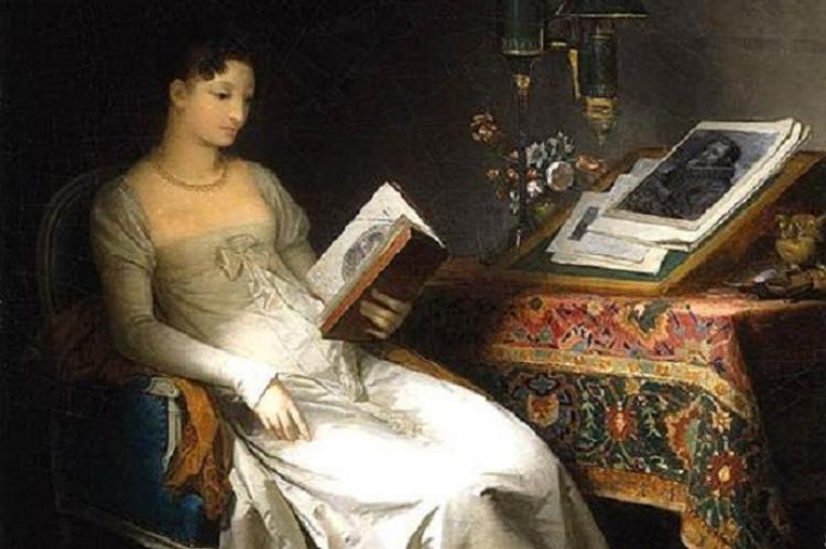Marguerite Gérard: Olvasó hölgy a szalonban (ca. 1795)