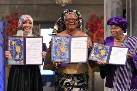 Tawakel Karman (Jemen), Leymah Gbowee (Libéria), Ellen Johnson Sirleaf (Libéria)