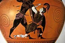 Akhilleusz és Pentheszileia, attikai feketealakos nyakamphora, i.e. VI. század