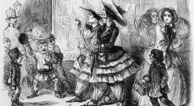 Karikatúra az első nadrágot (bloomert) viselő nőkről, 1851